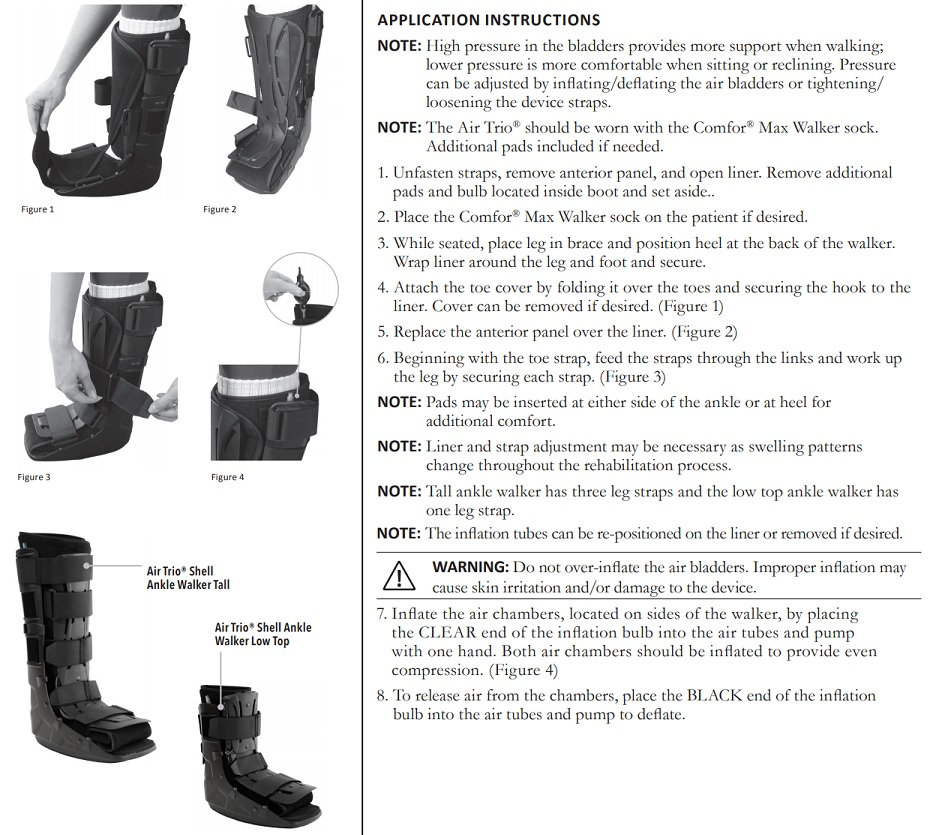 Air Trio Shell Ankle Walker Instructions