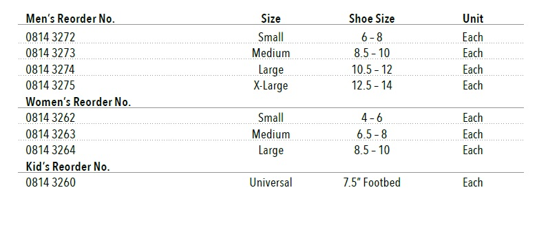 dlx1 post op ortho shoes size chart