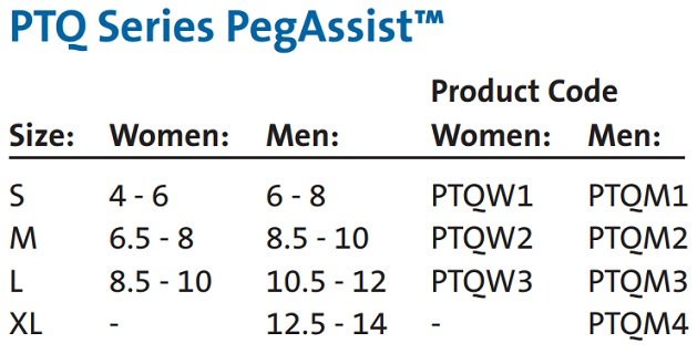 Darco PTQ Series Peg Assist size chart