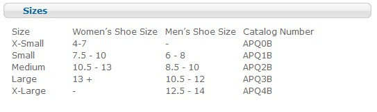 darco all purpose post op boot size chart