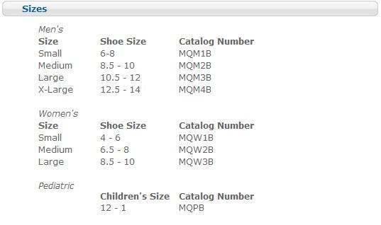 Darco Shoe Size Chart