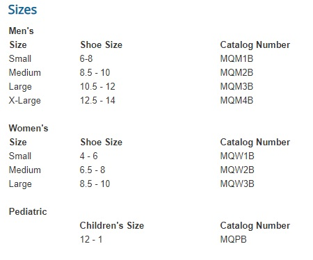 darco med surg shoe size chart