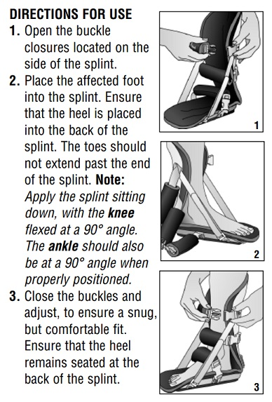 DeRoyal Night Splint Directions