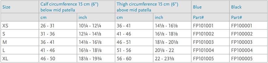 Formfit Pro Knee Support Brace-size chart-2