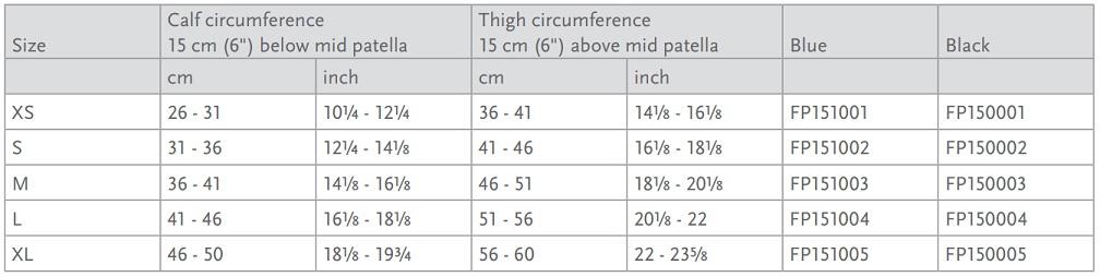 Formfit Pro Quest Knee size chart