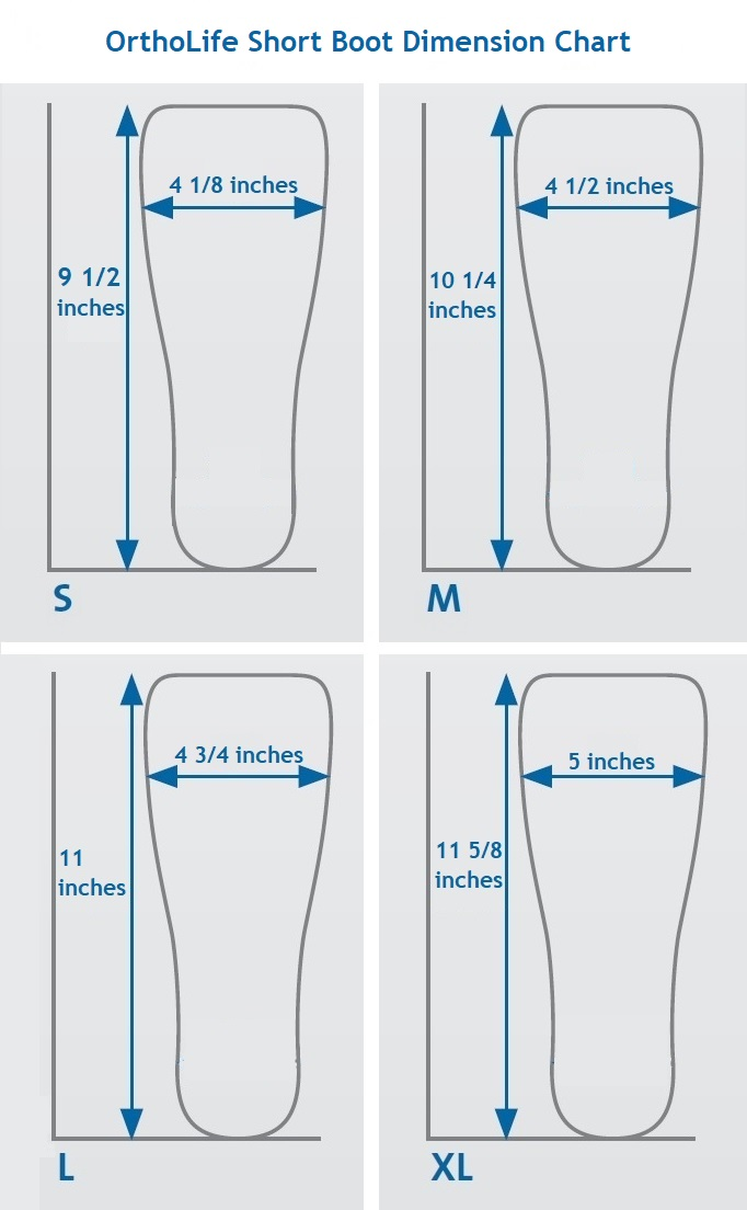 short medical boot dimensions