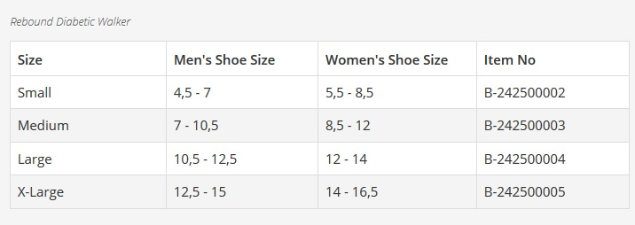 rebound offloading boot size chart