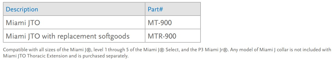 Miami JTO extension Size chart