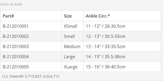 form fit ankle size