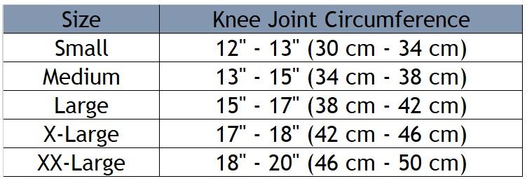 Q-FIT Patellar Strap size chart
