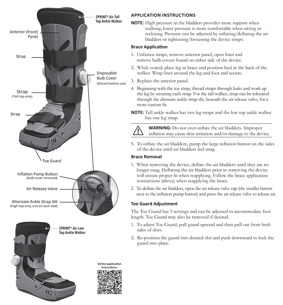 SPRINT Air Ankle Walker Instructions