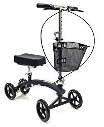 Steerable & Foldable Dual Brake Knee Walker with Basket - BodyMed