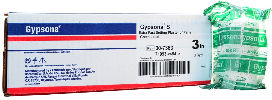 Gypsona S Plaster of Paris Bandages 3 In x 3 Yrd - 12 Rolls